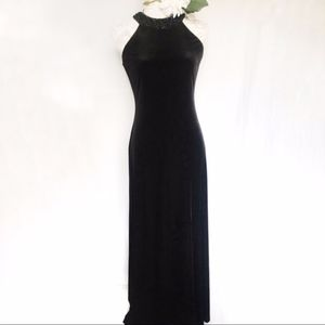 Alex Evenings / Beaded High Neck Velvet Maxi Dress